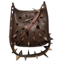 Hermes Brown Studded TPM Mini Vespa Shoulder Bag