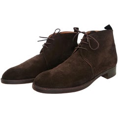 Hermès Brown Suede Ankle Boots. Size 40