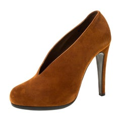 Hermes Brown Suede Leather Florida Pumps Size 36.5