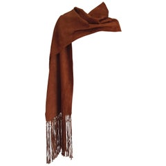 HERMES brown suede scarf with fringes Silk lined Collectible - Unworn, new