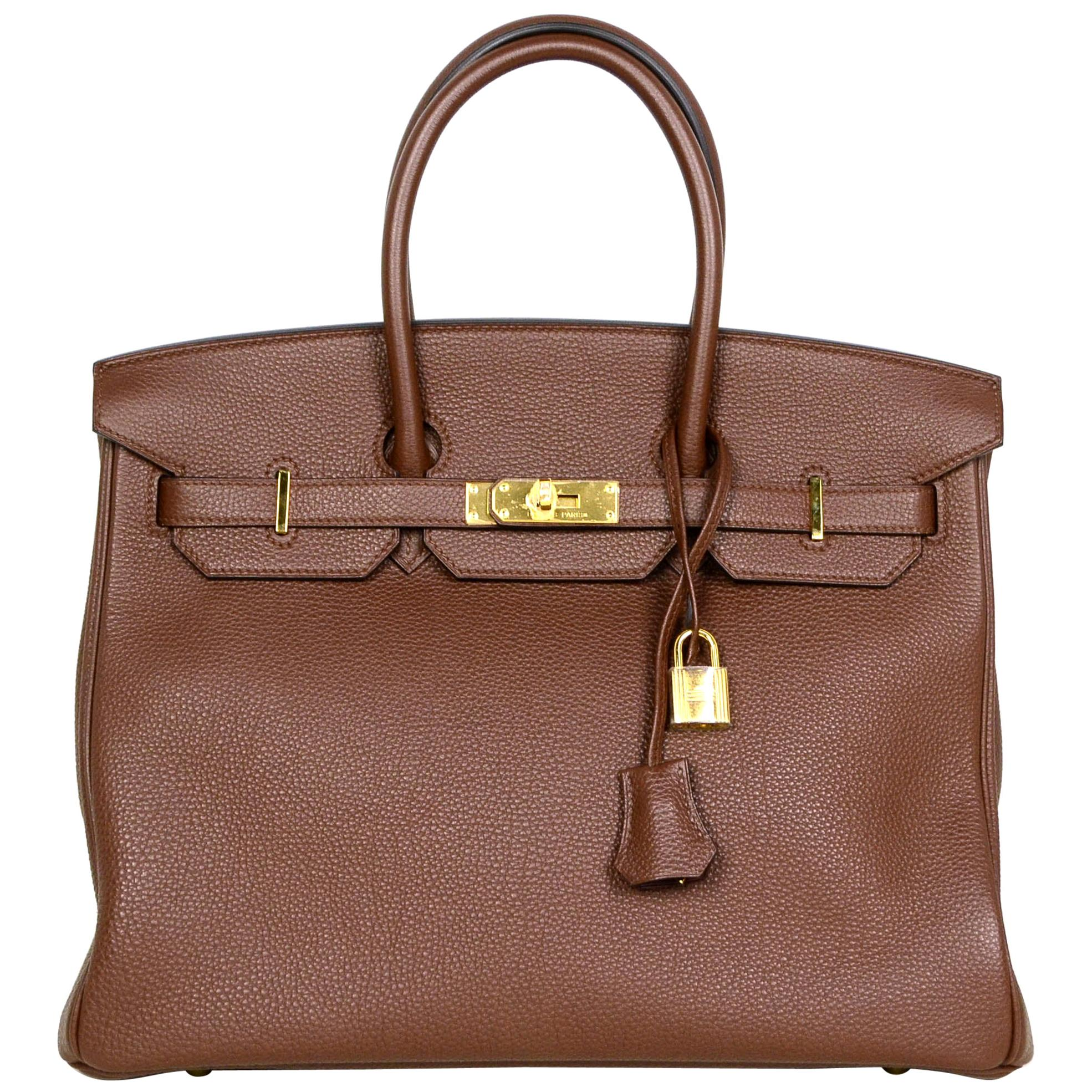 Hermes Brown Togo Leather 35cm Birkin Bag w/ Gold Hardware