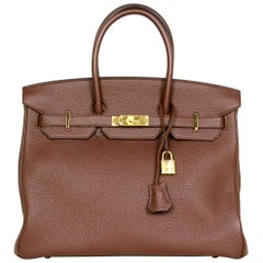 Hermes Brown Togo Leather 35cm Birkin Bag w/ Gold Hardware