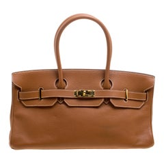 Hermes Brown Togo Leather Gold Hardware Shoulder Birkin 42 Bag