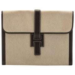 Hermes Brown & Toile Large Jige Clutch