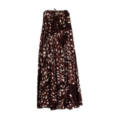 HERMES brown & white silk DOTTED MAXI Dress 44