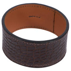 Hermes Brown Wide Crocodile Cuff In Box