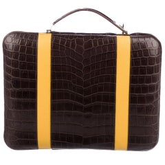 Hermes NEW Brown Alligator Exotic Men's Women's Travel Laptop Briefcase Bag