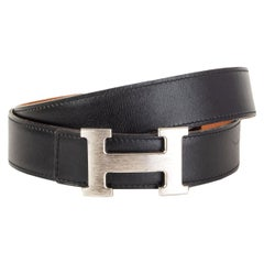 HERMES Brushed 5382 H BUCKLE REVERSIBLE 32mm Belt 90 Black Gold Box Togo leather