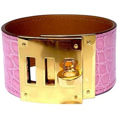 Hermes Bubblegum Pink Alligator Kelly Dog Bracelet Cuff