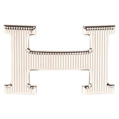 "Hermès Buckle for Belt // ""Calandre model"" in shiny silver"