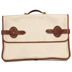 Hermes Buenaventura Men's Canvas and Leather  Briefcase