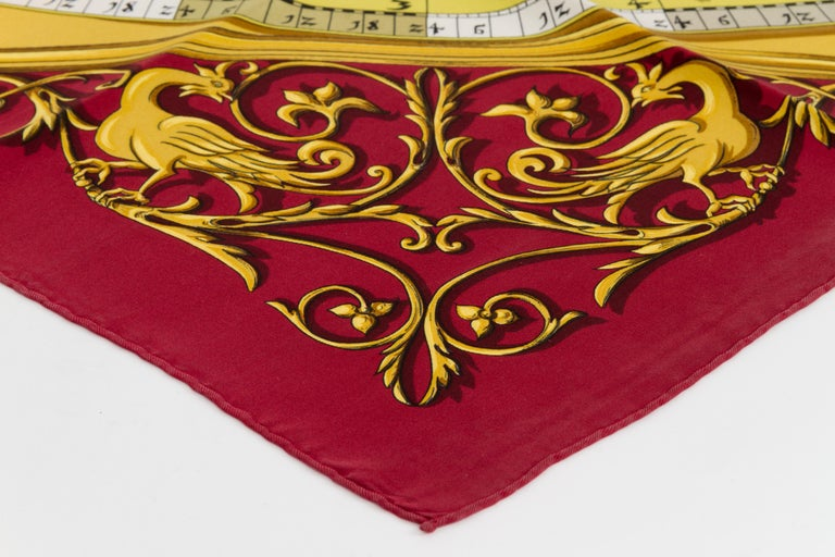 Hermès Burgundy Astrologie Silk Scarf In Excellent Condition For Sale In West Hollywood, CA