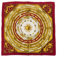 Hermès Burgundy Astrologie Silk Scarf