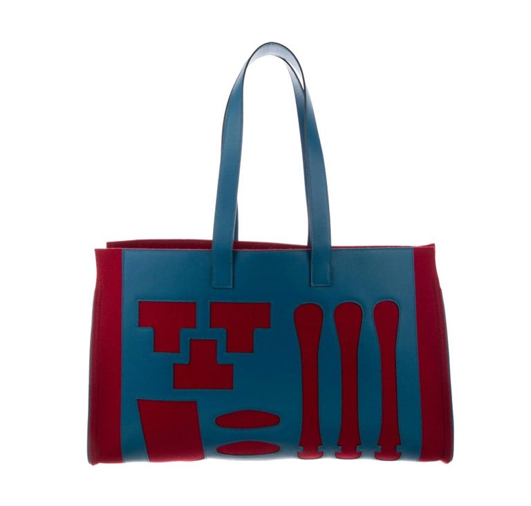 Red Hermes Burgundy Blue Felt Leather CarryAll Men's Women's Top Handle Tote Bag  For Sale