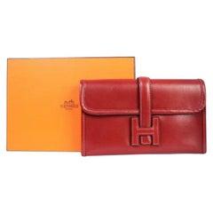 Hermes Burgundy Box Calfskin Jige Clutch