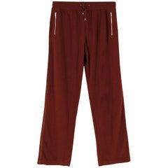 Hermes Burgundy Cashmere Wide Leg Pants XL