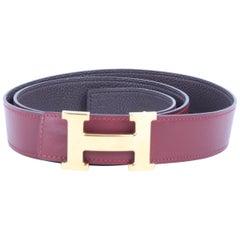 Hermès burgundy 'Constance' 'H'-logo belt