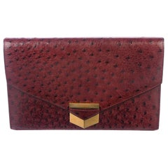 Hermes Burgundy Exotic Skin Ostrich Leather Gold Envelope Evening Clutch Flap
