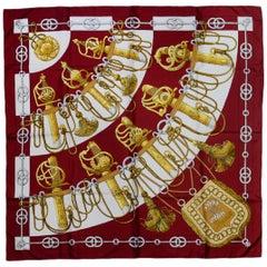 Hermes Burgundy/Gold Cliquetis 90cm/36 Silk Scarf