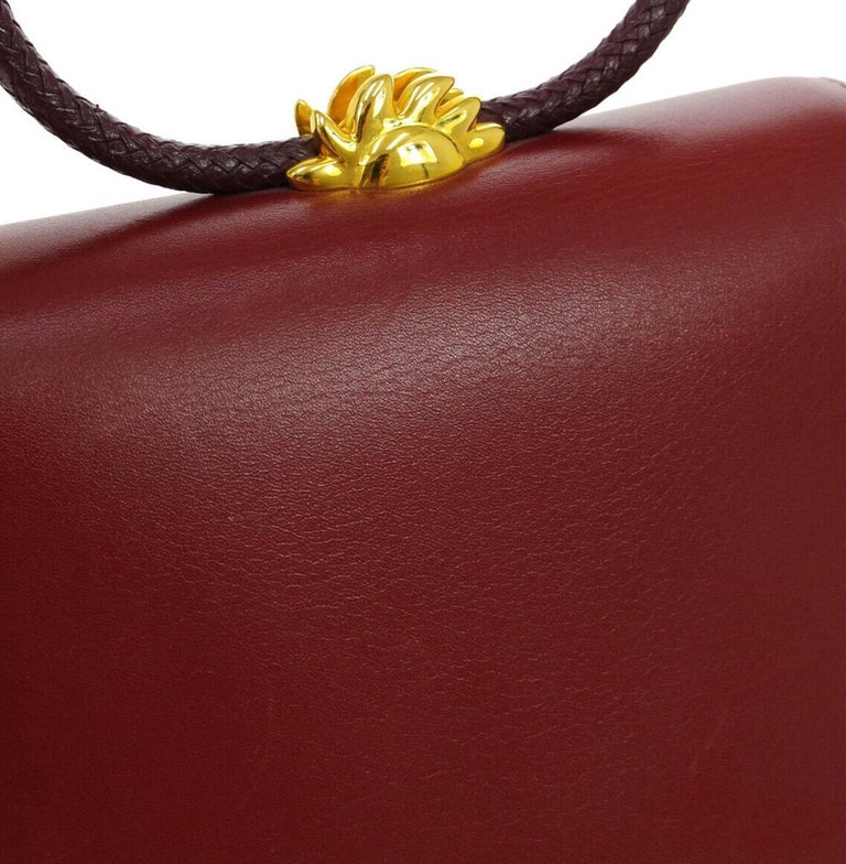 Hermes Burgundy Gold Small Top Handle Kelly Style Satchel Evening Tote Bag In Good Condition For Sale In Chicago, IL