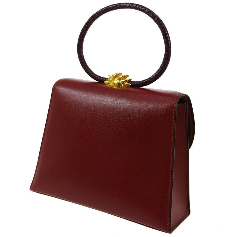 Women's Hermes Burgundy Gold Small Top Handle Kelly Style Satchel Evening Tote Bag For Sale