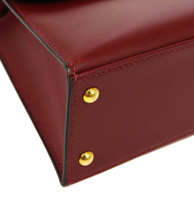 Hermes Burgundy Gold Small Top Handle Kelly Style Satchel Evening Tote Bag For Sale 2
