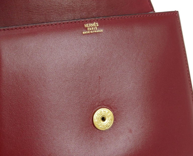 Hermes Burgundy Gold Small Top Handle Kelly Style Satchel Evening Tote Bag For Sale 3
