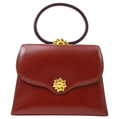 Hermes Burgundy Gold Small Top Handle Kelly Style Satchel Evening Tote Bag
