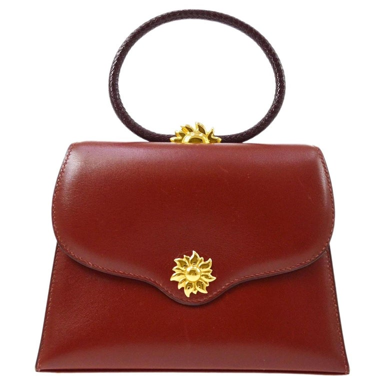 Hermes Burgundy Gold Small Top Handle Kelly Style Satchel Evening Tote Bag For Sale