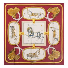 Hermes burgundy GRAND APPARAT 90 silk twill Scarf