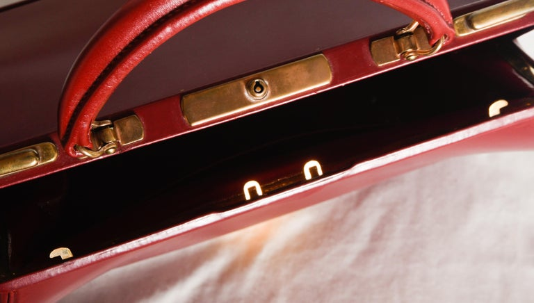 Hermes Burgundy Jewelry Sac Mallette Jewelry Travel Bag   For Sale 1