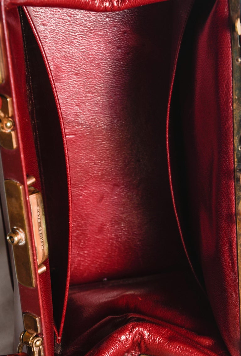 Hermes Burgundy Jewelry Sac Mallette Jewelry Travel Bag   For Sale 2