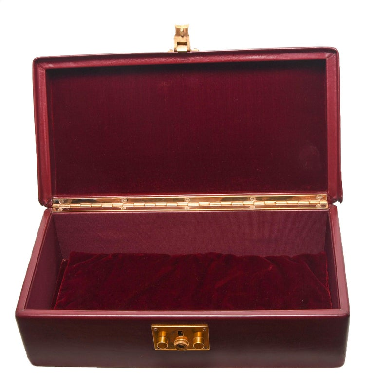 Hermes Burgundy Jewelry Sac Mallette Jewelry Travel Bag   For Sale 3