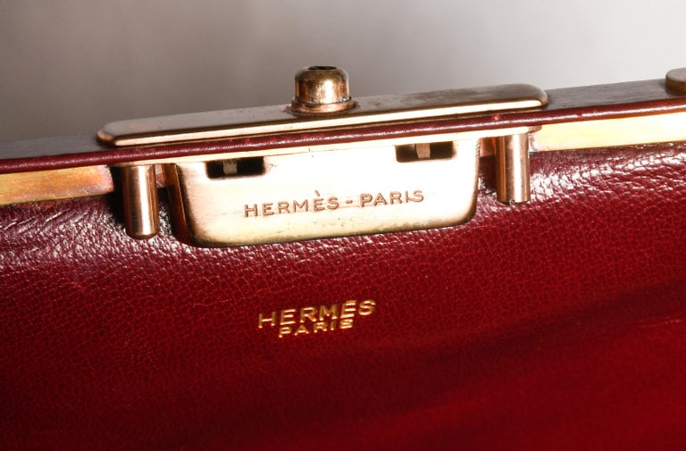 Hermes Burgundy Jewelry Sac Mallette Jewelry Travel Bag   For Sale 5