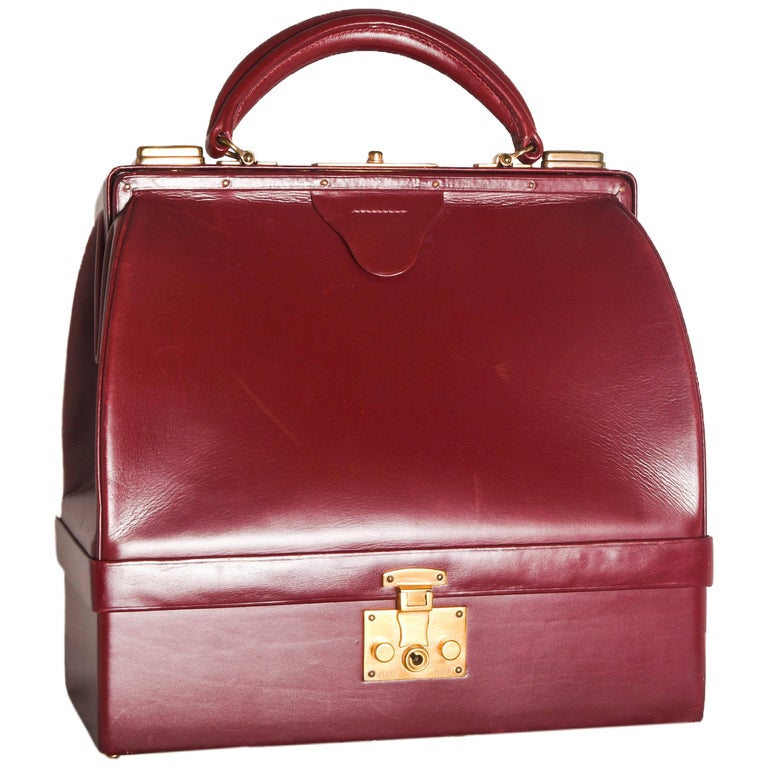 Hermes Burgundy Jewelry Sac Mallette Jewelry Travel Bag   For Sale