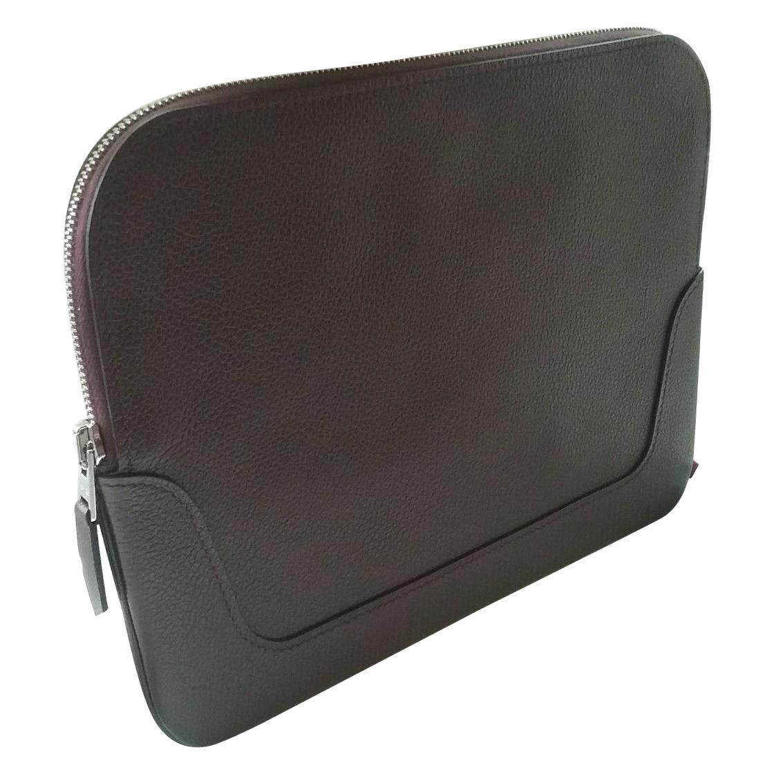 Hermes Burgundy Leather Plum Clutch Bag. Pochette