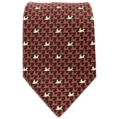 HERMES Burgundy Mauve Dove Bird Print Silk Tie 5385 OA