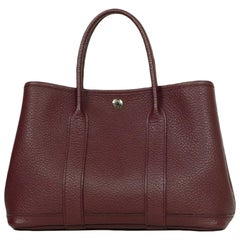 Hermes Burgundy Negonda Leather 30cm Garden Party TPM Bag
