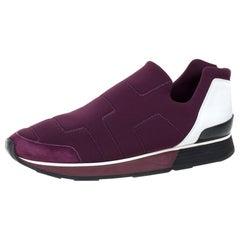 Hermes Burgundy Neoprene and Leather Miles Slip On Sneakers Size 41