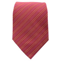 HERMES Burgundy & Raspberry Red Diagonal Stripe Silk Tie