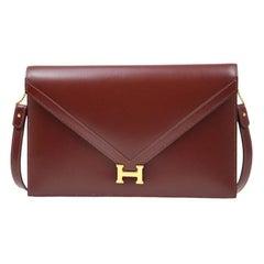 Hermes Burgundy Red Leather Gold 'H' Logo Envelope Clutch Shoulder Flap Bag