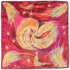 HERMES Burgundy Silk Celestial Feux Du Ciel Star Print Pocket Square