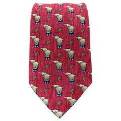 HERMES Burgundy Silk Elephant & Mouse Tie 7681 TA