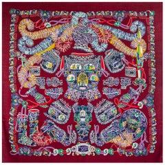 HERMES burgundy SOUS L'EGIDE DE MARS 140 cashmere silk Shawl Scarf