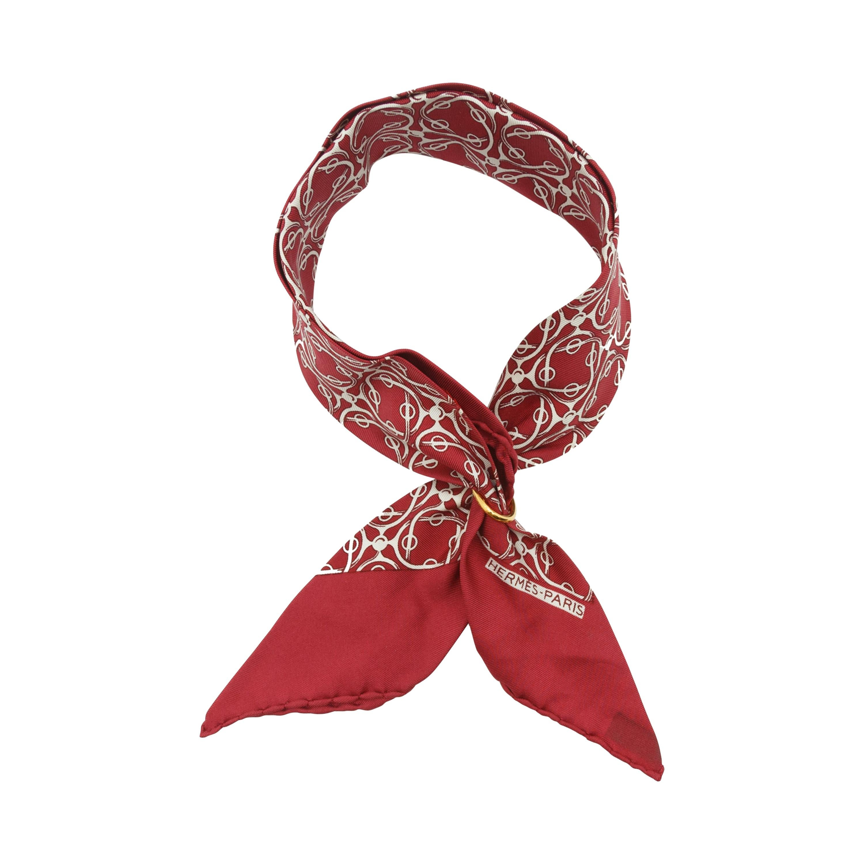 Hermes Burgundy & White Neck Tie Scarf