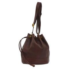 Hermes Burgundy Wine Leather Bucket Gold Drawstring Carryall Shoulder Bag