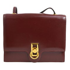 Hermes Burgundy Wine Leather Gold Hermes Toggle Evening Shoulder Flap Bag