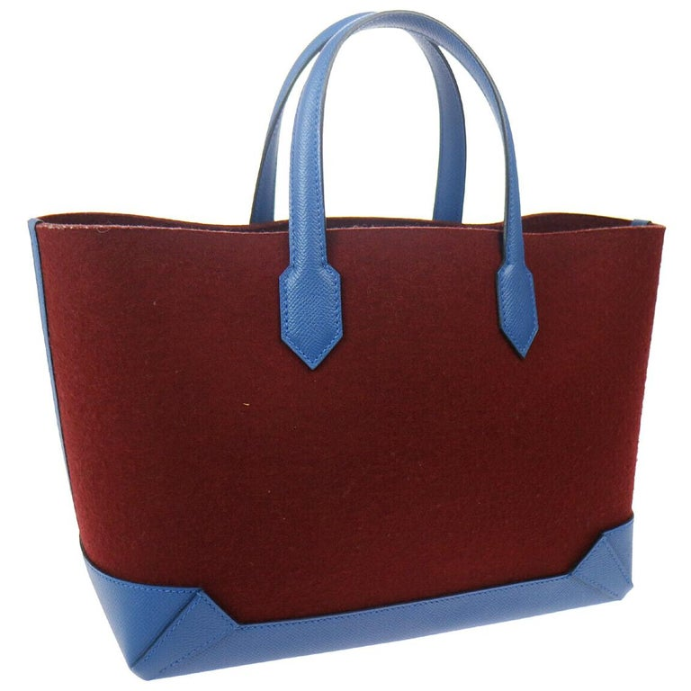 Hermes Burgundy Wool Blue Leather Carryall Top Handle Satchel Travel Tote Bag For Sale