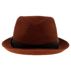 Hermes Burnt Orange Corduroy Leather Trim Detail Panama Hat Size 58