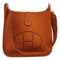 "Hermes Burnt Orange Leather Canvas ""H"" Logo Men's Women's Crossbody Shoulder Bag"